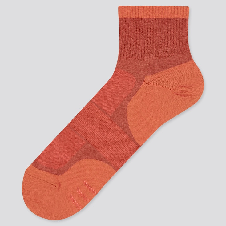 Men Color Block Half Socks, Orange, Large