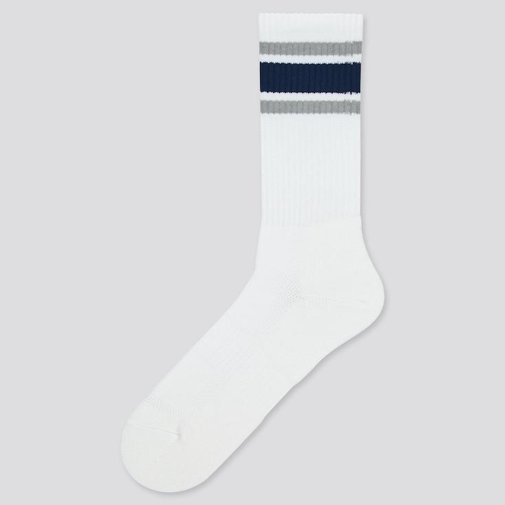 Men Pile Striped Socks, White, Large