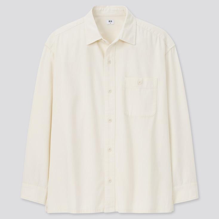 Denim Oversized Long-Sleeve Shirt, Off White, Large