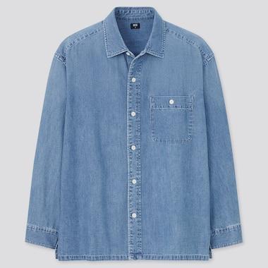 Denim Oversized Long-Sleeve Shirt, Blue, Medium
