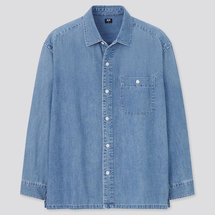Denim Oversized Long-Sleeve Shirt, Blue, Large