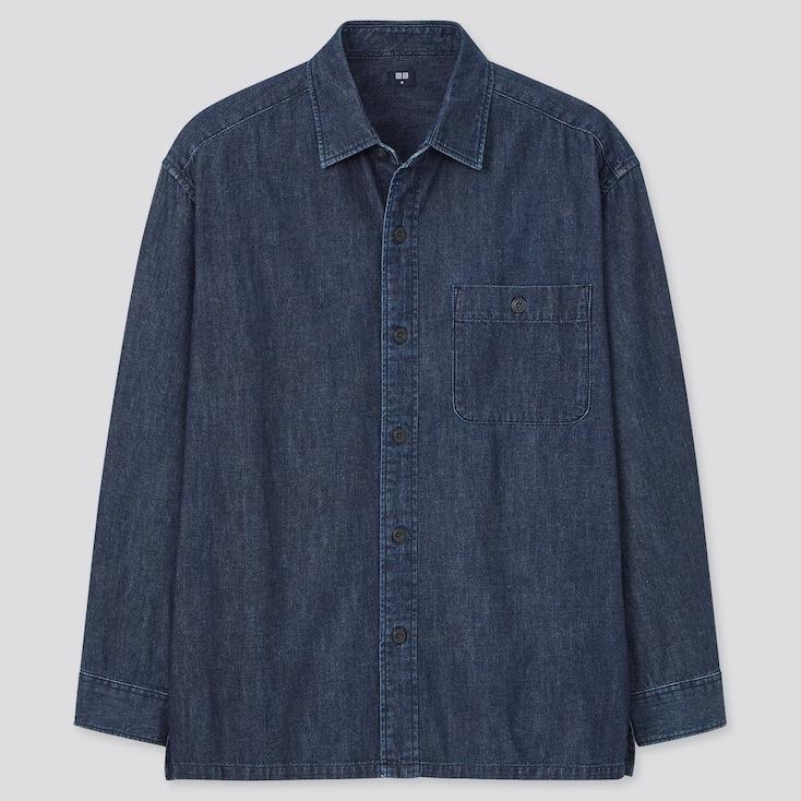 Denim Oversized Long-Sleeve Shirt, Navy, Large