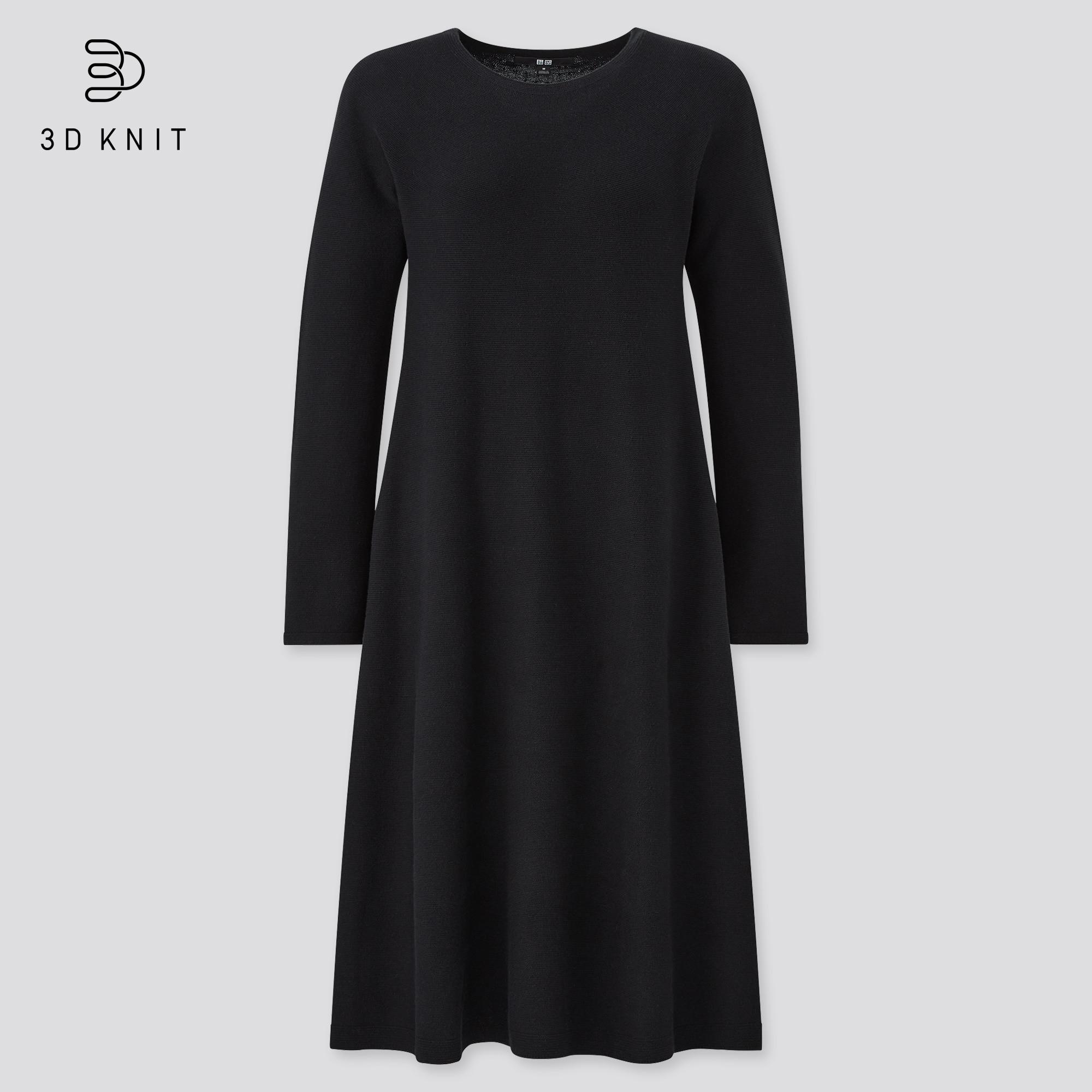 women 3D knit cotton long-sleeve flare dress