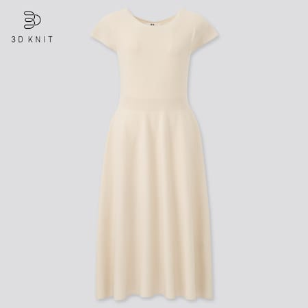 Damen Weites 3D Knit nahtloses Baumwollkleid mit französischem Kurzarm
