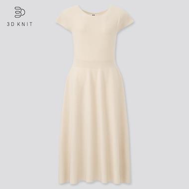 Women 3d Knit Cotton Short-Sleeve Flare Dress, Off White, Medium