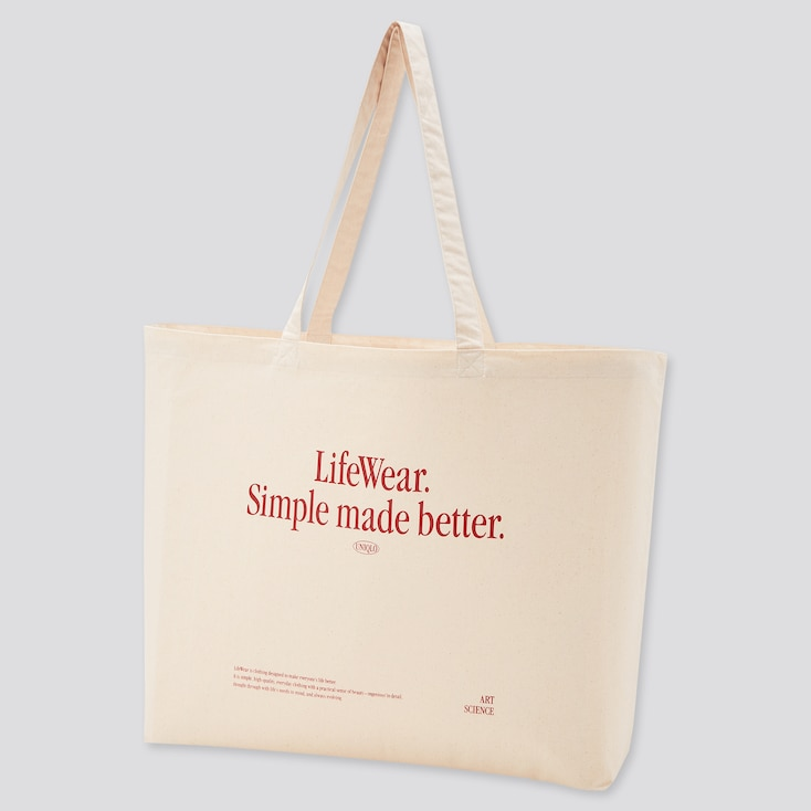 Large Eco-Friendly Printed Bag (Ut Goods), Off White, Large