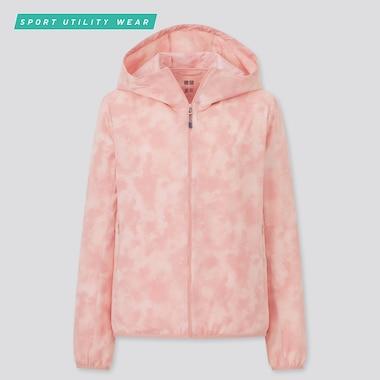 Women Pocketable Uv Protection Pattern Parka, Pink, Medium