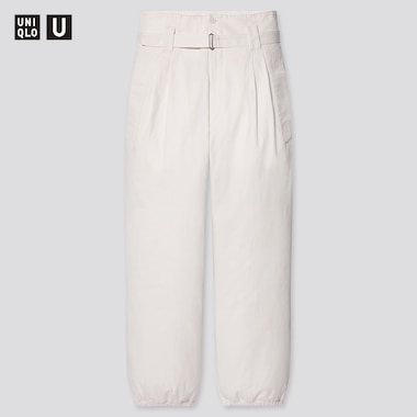 Women U Cotton Twill Belted Pants, Off White, Medium