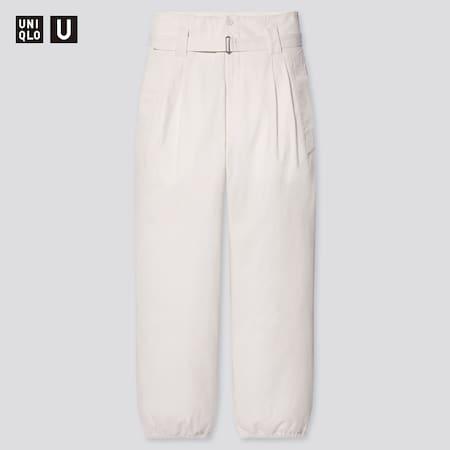 Women Uniqlo U Cotton Twill Belted Trousers