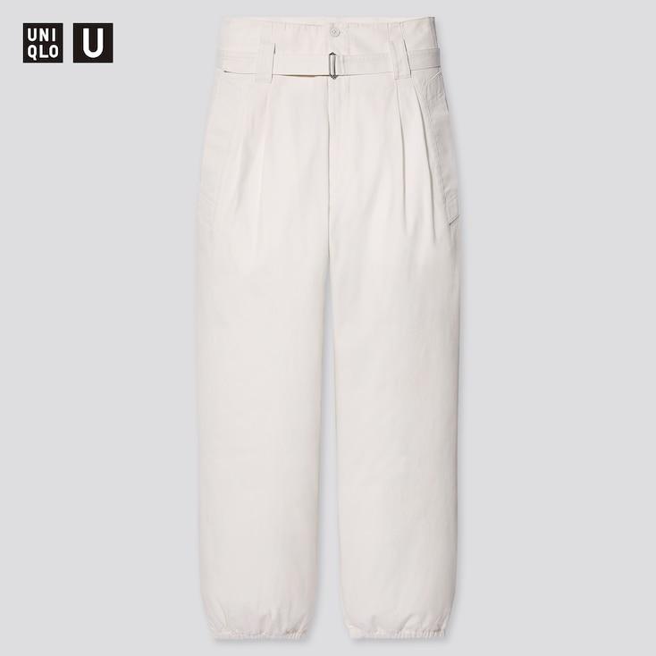 Women U Cotton Twill Belted Pants, Off White, Large