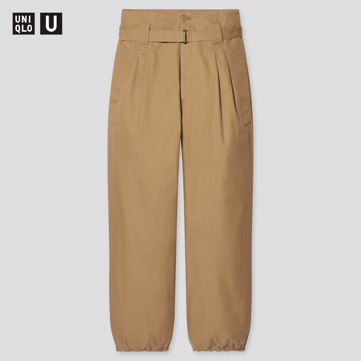 Women U Cotton Twill Belted Pants, Khaki, Large