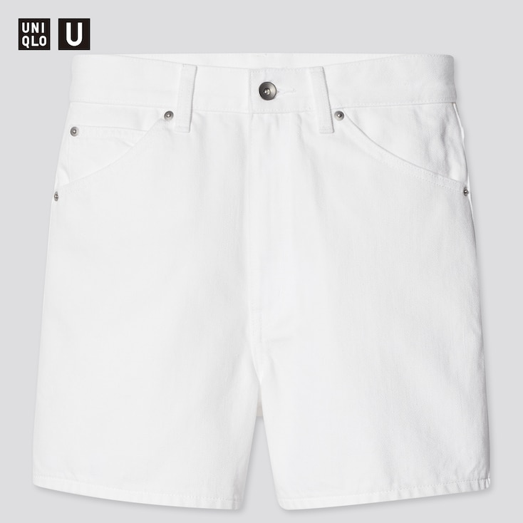 Women U Denim Shorts, White, Large