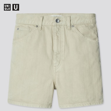 Women U Denim Shorts, Light Green, Medium