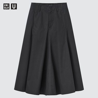 Women U Cotton Twill Flared Skirt, Black, Medium