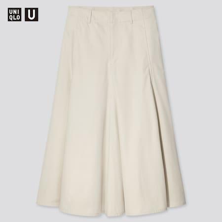 Women Uniqlo U Cotton Twill Flared Skirt