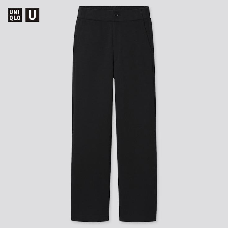 Women U Jersey Relaxed Straight Pants, Black, Large