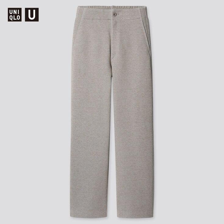 Women U Jersey Relaxed Straight Pants, Beige, Large
