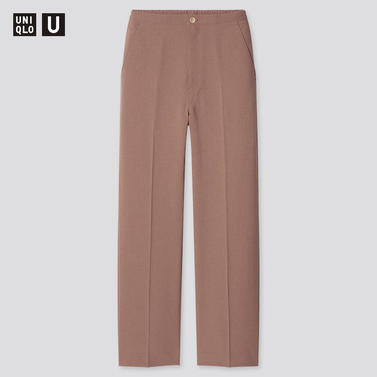 Women U Relaxed Straight Pants, Brown, Large