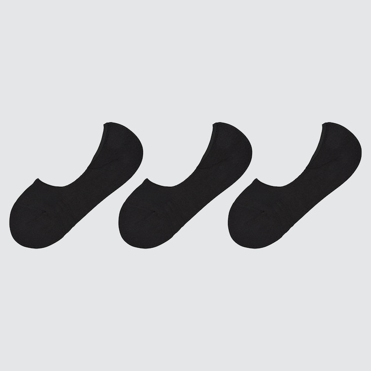 Women Pile-Lined Footsies (3 Pairs), Black, Large