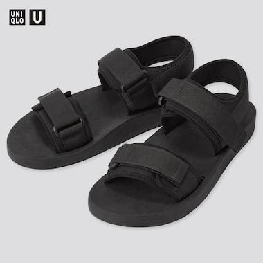 Men U Tape Sandals, Black, Medium