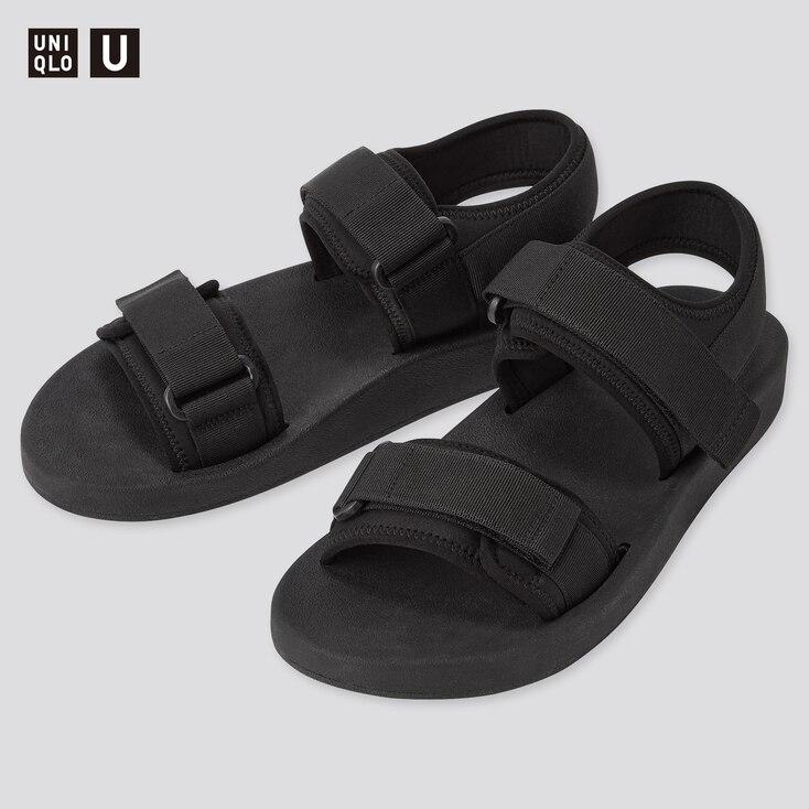 U Tape Sandals, Black, Large