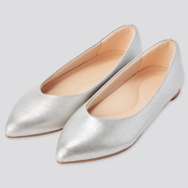 Women Comfort Feel Touch Metallic Pointed Flats, 81, Medium