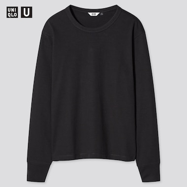 Women U Cotton Crew Neck Long-Sleeve T-Shirt, Black, Medium