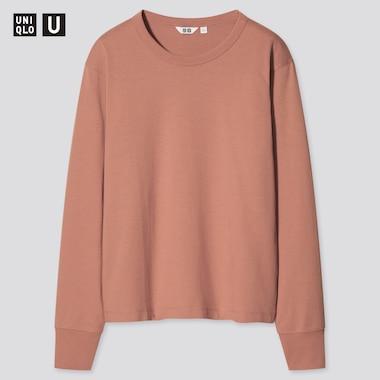 Women Uniqlo U Cotton Crew Neck Long Sleeved T-Shirt
