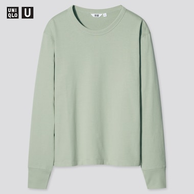 Women U Cotton Crew Neck Long-Sleeve T-Shirt, Green, Medium