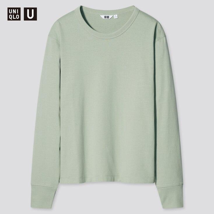 Women U Cotton Crew Neck Long-Sleeve T-Shirt, Green, Large
