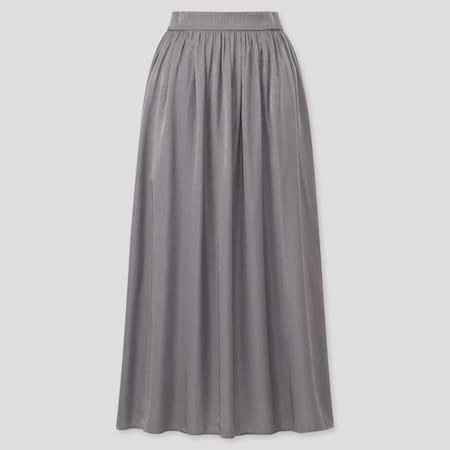 Women Shiny Gathered Long Skirt