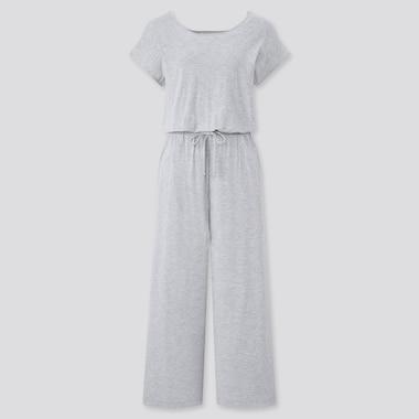 Damen Kurzärmliger Drape Jersey Lounge Jumpsuit