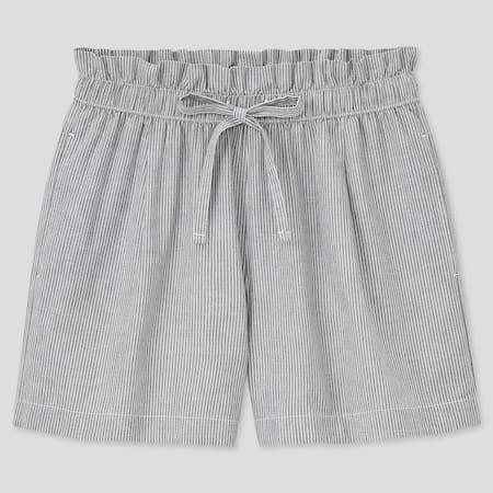 Damen Gestreifte Leinen Baumwoll Shorts (Relaxed Fit)