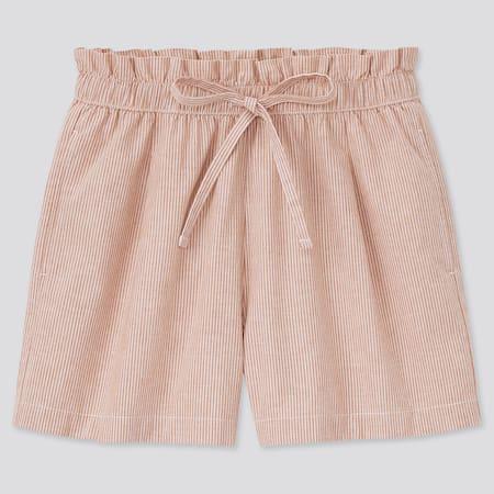 Shorts Cotone Misto Lino A Righe Relax Donna