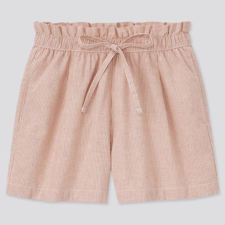 Women Cotton-Linen Relaxed Shorts, Orange, Large