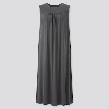 Women Drape Jersey Sleeveless Dress, Gray, Medium