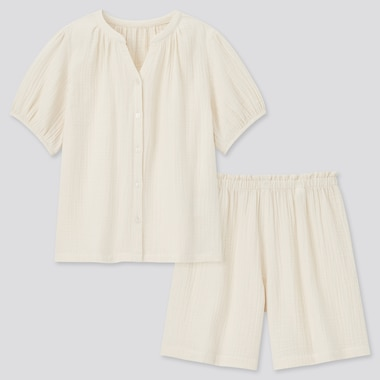 Damen Kurzärmliger Pyjama aus Doppelgaze