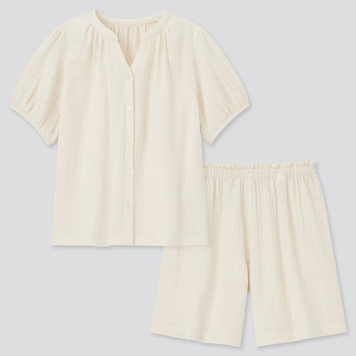 Women Double-Gauze Short-Sleeve Pajamas, Off White, Large