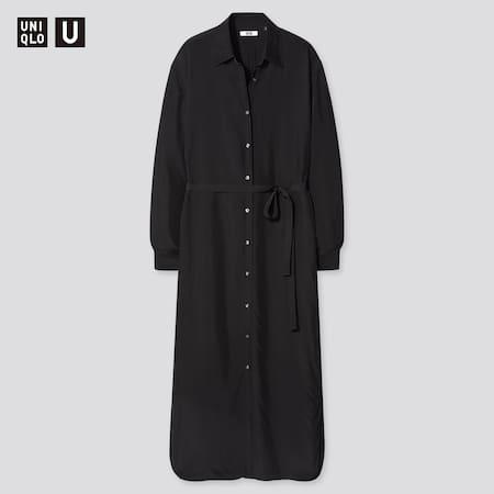 Women Uniqlo U Shiny Rayon Long Sleeved Shirt Dress