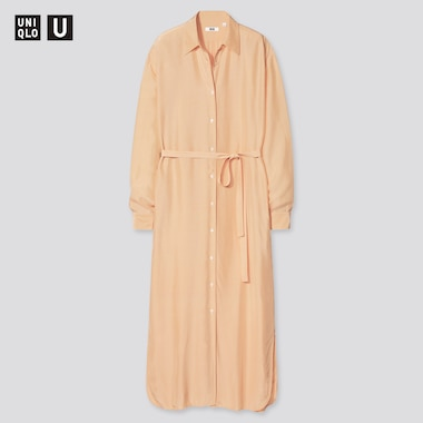 Damen UNIQLO U Langes langärmliges Rayon Hemdkleid in Glanzoptik