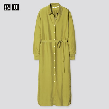 Women U Shiny Rayon Long-Sleeve Long Shirt Dress, Green, Medium