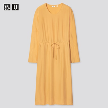 Damen UNIQLO U Langärmliges Rayonkleid in Glanzoptik