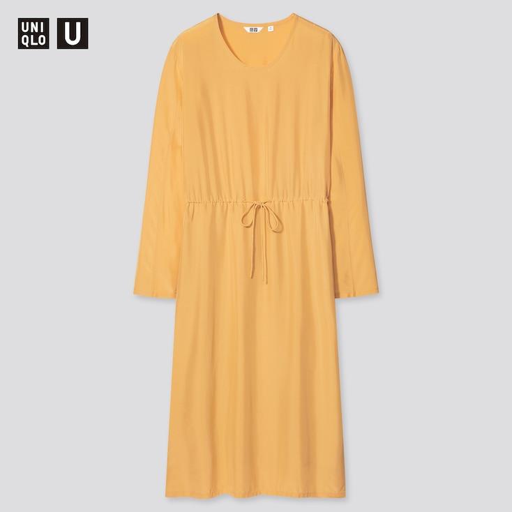 Women U Shiny Rayon Long-Sleeve Dress, Yellow, Large