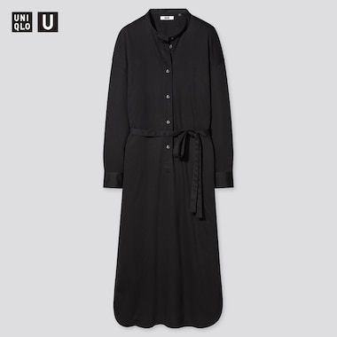 Women U Mercerized Cotton Belted Long-Sleeve Dress, Black, Medium