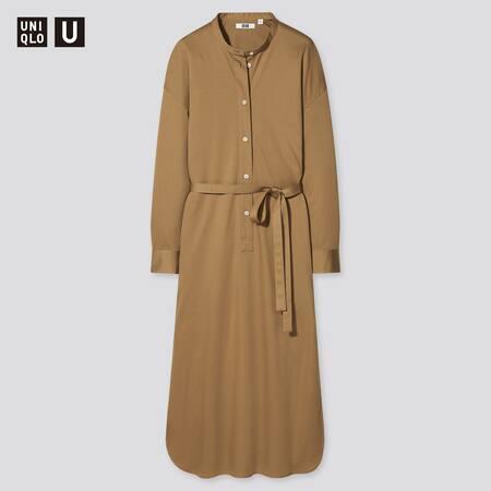 Damen UNIQLO U Langes langärmliges Kleid aus merzerisierter Baumwolle mit Gürtel