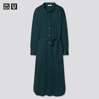 Women Uniqlo U Mercerised Cotton Belted Long Sleeved Dress