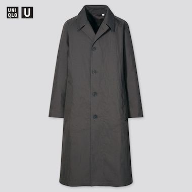 Men U Single-Breasted Trench Coat, Dark Gray, Medium