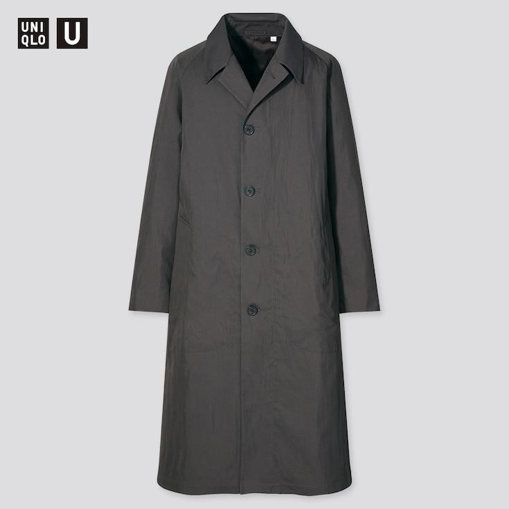 Men U Single-Breasted Trench Coat, Dark Gray, Large