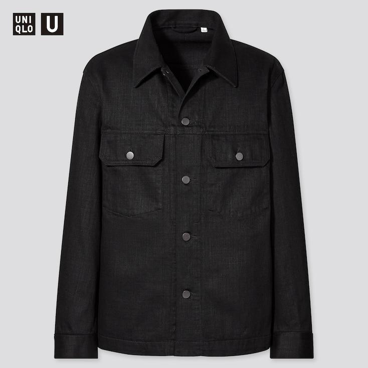 Men U Cotton Trucker Jacket, Black, Large