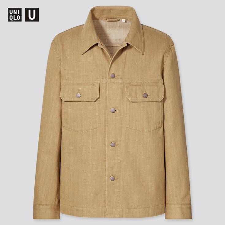 Men U Cotton Trucker Jacket, Beige, Large